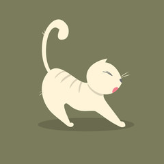 Funny fat cat stretches. Vector illustration