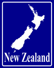 silhouette map of New Zealand