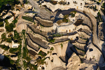 Aerial view on terraces in rocks