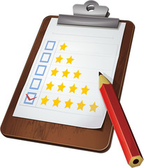 Rating report on a clipboard