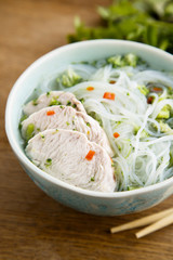 Asian chicken soup with rice noodles