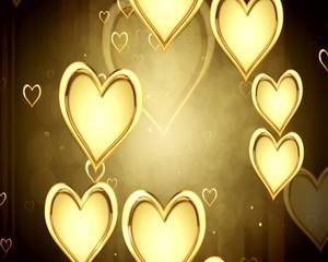 сердца  золотые