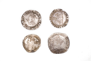 Antique England and  French  Silver coins on white background