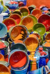 Christmas market. Colorful ceramic goods.