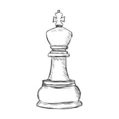 Vector Single Sketch Chess Figure - King