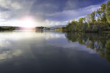 Sunset on the Ticino river banks, Lake Maggiore. Color image