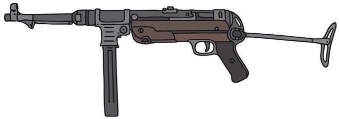 Old germany submachine gun, vector illustration