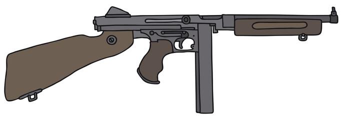 Old american submachine gun, vector illustration