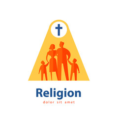 family vector logo design template. people or religion icon.