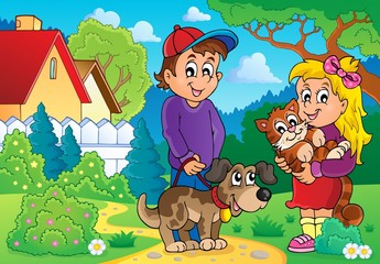 Children with pets theme 2