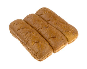 Whole wheat sub rolls on a white background