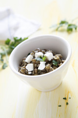 Lentil salad with herbs and feta