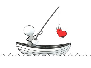 little sketchy man in a rowboat fishing for love
