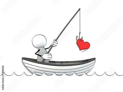 little sketchy man in a rowboat fishing for love - 76108206
