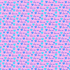 Valentines day.background with blue hearts.Seamless patter