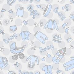 Vector seamless pattern with hand drawn symbols of newborn boy