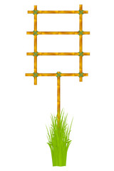 Wooden frame of old bamboo sticks. Vector illustration