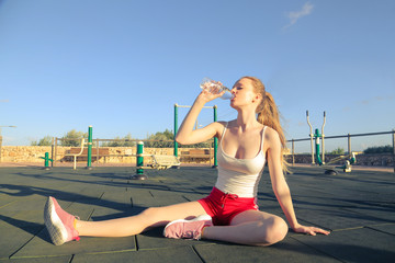 Drinking water after jogging