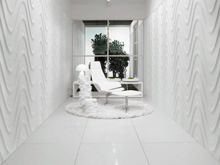 3d rendering of black and white modern interior