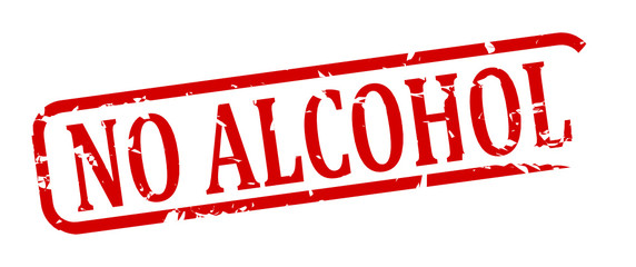 Red stamp with the word No alcohol - illustration