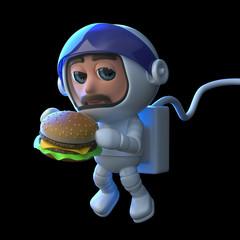 3d Astronaut eats a burger in space