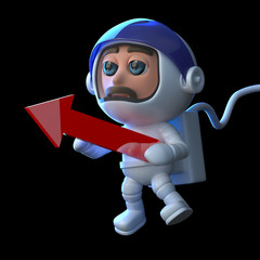 3d Astronaut points the way