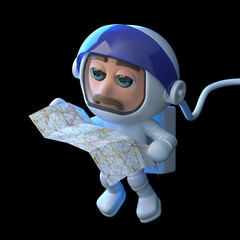 3d Astronaut checks the map