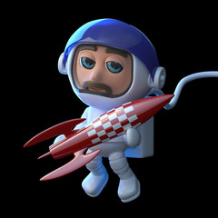 3d Astronaut playing with a rocket