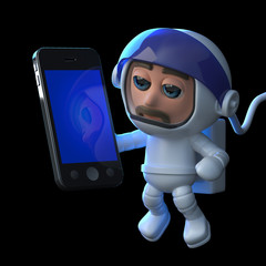 3d Astronaut using a tablet smartphone