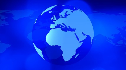 Rotating planet earth and world map global business background