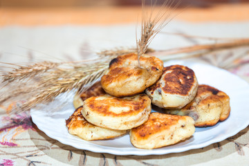 Tasty curd fritters decorated with oat ears on white plate