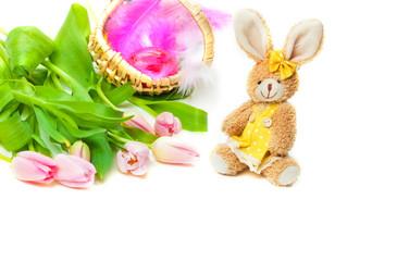 Osterhase, Tulpen, Osterkörbchen