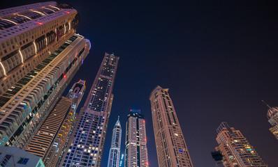DUBAI, UAE - Dec 4 : A skyline view of Dubai Marina showing the