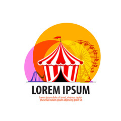 circus vector logo design template. carousel or fair icon.
