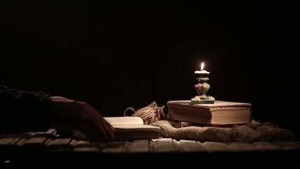 Reading a book, a magic book.