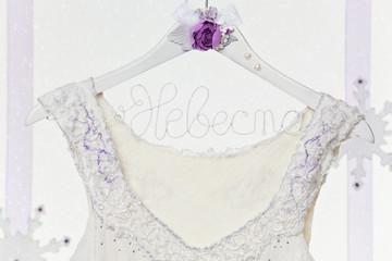 Close up of  brides dress on hanger