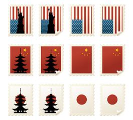 World Stamps Asia & USA