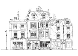 Old English town houses with shops on the ground floor. Sketch c