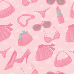 Seamless girly accessories background.