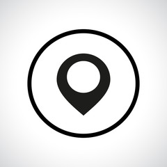 Map pointer icon in a circle.