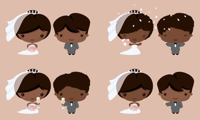 Kawaii Bride and Groom African Asian
