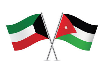 Jordan and Kuwait flags. Vector illustration.