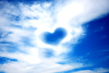 Love heart on sky background poster