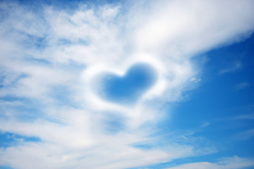 Love heart  on sky background