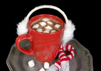 ear muffs on hot chocolate drink