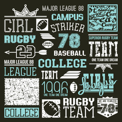 Rugby and baseball college team design elements