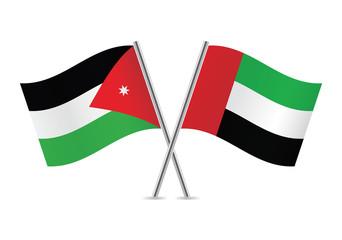 Jordan and United Arab Emirates flags. Vector illustration.