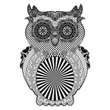 Owl Doodle Art Black and White poster