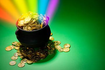 Pot of Gold: Magic Rainbow Explodes From Leprechaun Treasure Pot