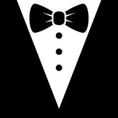 Bow Tie and Black Suit Icon. Vector